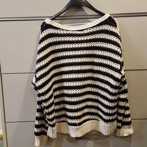 FREE PEOPLE Black & white striped sweater